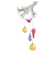 Christmas toys hanging on a branch vector image