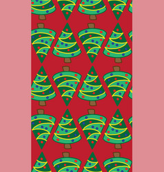 christmas trees on red seamless pattern vector image