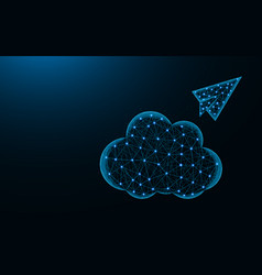 Cloud and paper airplane low poly design cloud vector