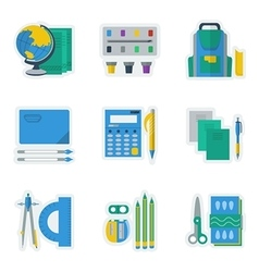 Colored icons for school items vector image