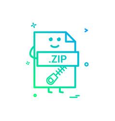 Computer zip file format type icon design vector