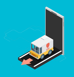 Concept of delivery truck icon with mobile flat vector