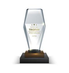 Crystal glass trophy realistic award 3d vector
