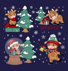 cute bull christmas tree gift bell vector image