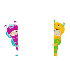 Cute kids in monster costumes with white board vector image