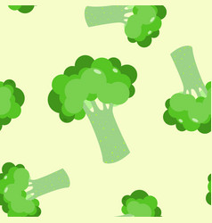 Cute seamless pattern with green broccoli vector