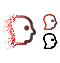 Dissolved dot halftone head profile icon vector