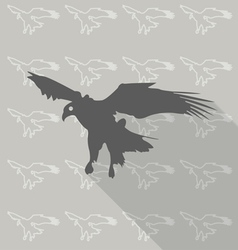 Eagles fly on the background pattern vector