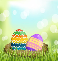 Easter eggs on basket the grass vector image