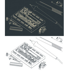 Electronics components drawings vector