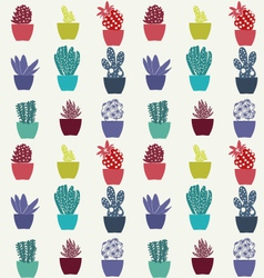 flat cactus pattern plants in pots vector image