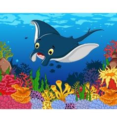 funny stingray cartoon with beauty sea life backgr vector image