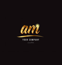 Gold alphabet letter am a m logo combination icon vector