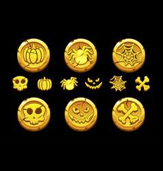 Golden coin set cartoon coins with vector