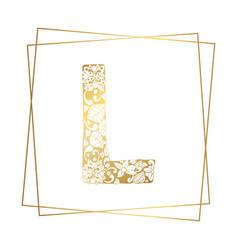 Golden ornamental alphabet letter l font on white vector