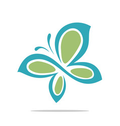 green butterfly ornamental logo template vector image