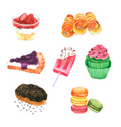 Hand drawn watercolor dessert collection vector