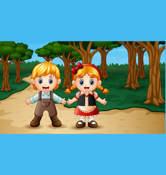 Hansel and gretel in the forest vector