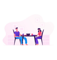happy family eating together at home young loving vector image