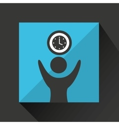 Happy man with clock timw icon vector
