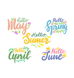 hello summer and spring banners with lettering vector image
