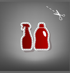 household chemical bottles sign red icon vector image vector image