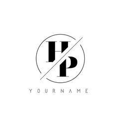 hp letter logo with cutted and intersected design vector image