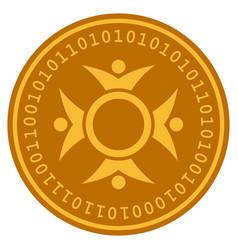 Human collaboration digital coin vector