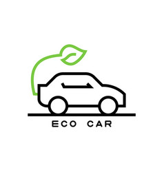 icon ecological car in line style vector image