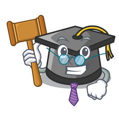 Judge graduation hat mascot cartoon vector