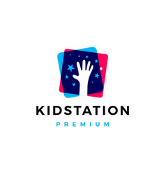 kid child take stars raising star hand care logo vector image