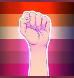 Lesbian community poster design striped fist vector