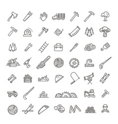 Logging sawmill line icons instruments vector