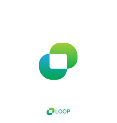 loop square box letter o logo nature logo concept vector image