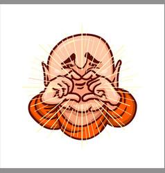 Lovely buddha folded fingers in shape of heart vector