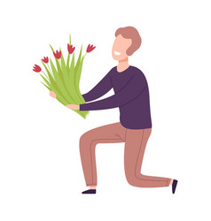 Man kneeling down with bouquet flowers holiday vector
