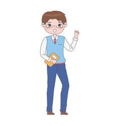 Manga boy character vector