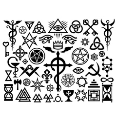 medieval occult signs and magic stamps origin vector image