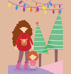 merry christmas mom with sweater daughter tree vector image