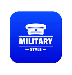 Military hat icon blue vector