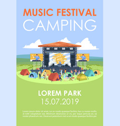 music festival camping brochure template open air vector image