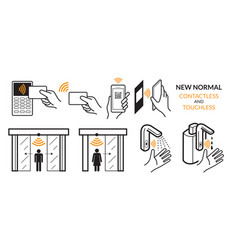 new normal contactless payment and touchless vector image