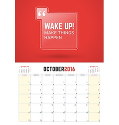October 2016 Wall Calendar Planner for 2016 Year vector