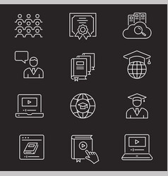 Online education icon set isolated vector