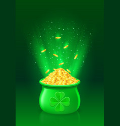 pot with full of gold coins vector image