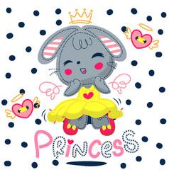 Princess rabbit girl cartoon character vector
