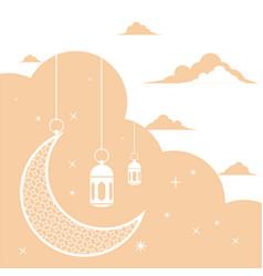 Ramadan kareem white greeting card background vector