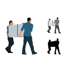 realistic colored of two men carrying a big box vector image