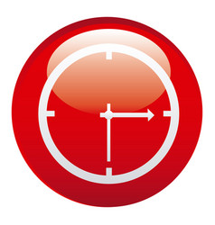 Red clock emblem icon vector