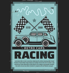 Retro vehicles cars motor racing vector